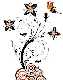 Blumenhintergrund mit schmetterling und kreis, element für design, vektorillustration