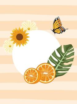 Blumenhintergrund mit schmetterlings- und orangenszene.