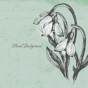 Blumenhintergrund mit schneeglöckchen im retro-stil