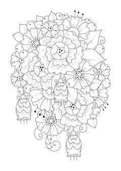 Blumenhintergrund zum färben. malvorlagen. kunstrichtung.