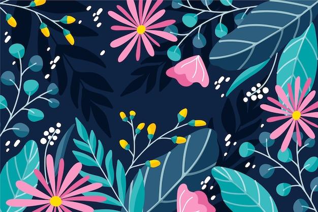 Blumenhintergrunddesign der flachen designzusammenfassung
