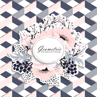 Blumenhintergrunddesign mit geometrischen Elementen
