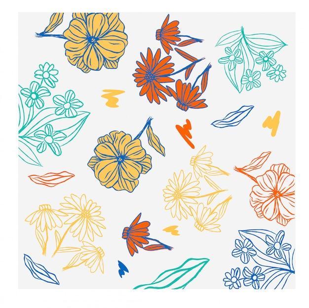 Blumenhintergrundherbstblumenoberflächen-gekritzelskizze