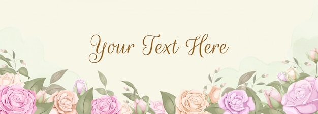 Blumenhintergrundhintergrundfahne mit rosen Premium Vektoren