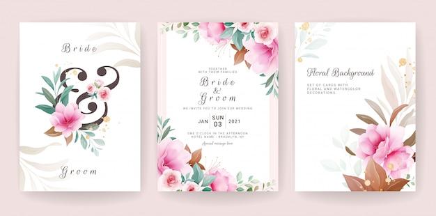 Blumenhintergrundkarte. hochzeitseinladungsschablonensatz mit blumen- und glitzerdekoration zum speichern des datums-, gruß-, plakat- und abdeckungsentwurfs