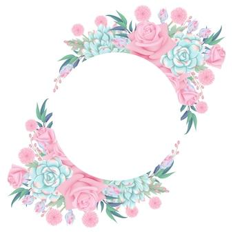 Blumenhintergrundkranz mit Rosenblume und -saftigem