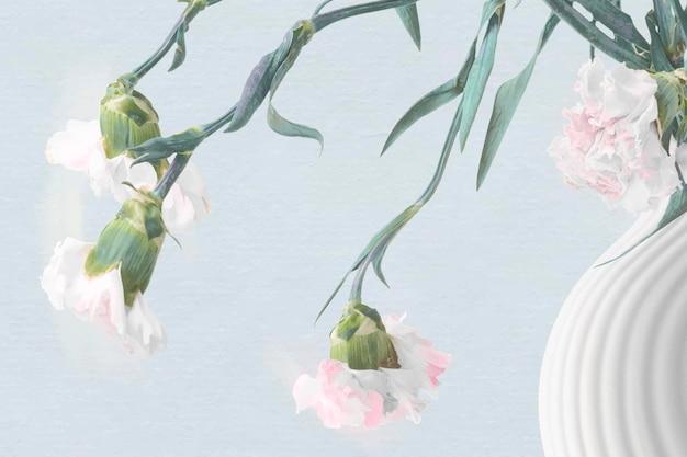 Blumenhintergrundvektor, psychedelische kunst der blauen und rosafarbenen nelke