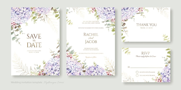 Blumenhochzeit einladungskarte speichern sie das datum danke uawg vorlage hortensienblume mit grün