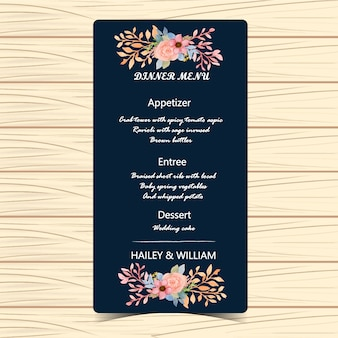 Blumenhochzeit-menü-karte
