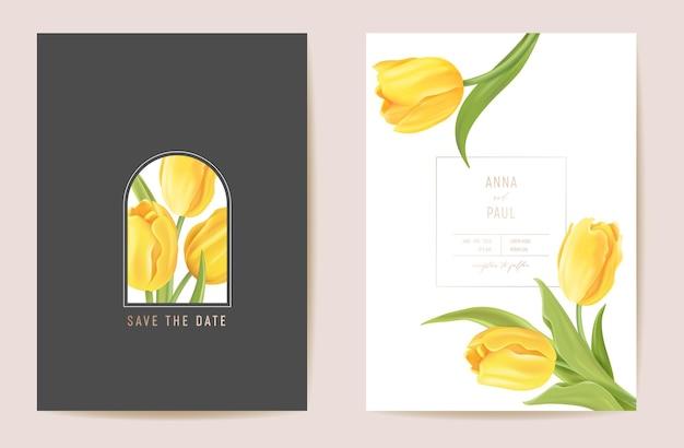 Blumenhochzeit moderne tulpenvektor einladung. blume save the date eingestellt. minimale frühlingskarte. realistischer vorlagenrahmen, laubabdeckung, sommerhintergrund, trendiges design, luxusbroschüre