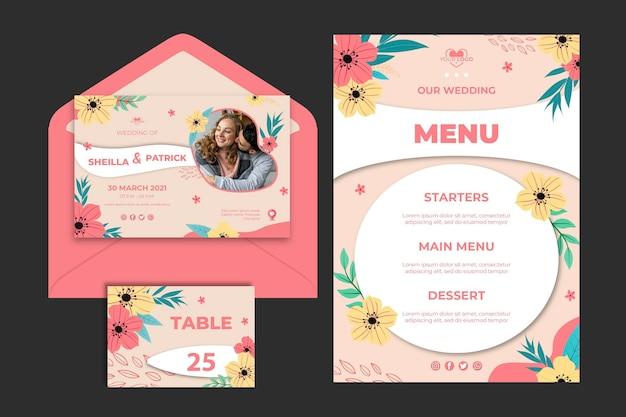 Blumenhochzeits-briefpapierschablonensammlung