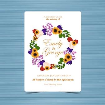 Blumenhochzeits-einladung mit herbst-blumen und blättern