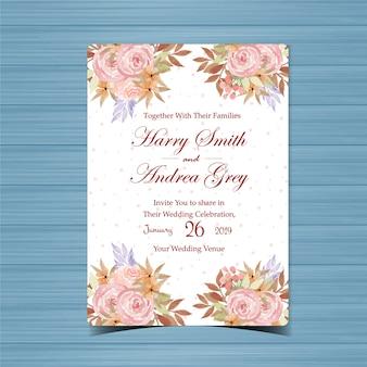 Blumenhochzeits-einladung mit schönen blumen
