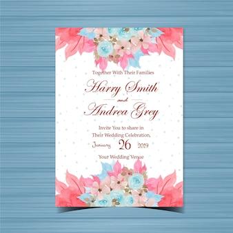 Blumenhochzeits-einladung mit schönen handgemalten blauen rosen