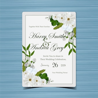 Blumenhochzeits-einladung mit schönen weißen blumen