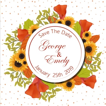 Blumenhochzeits-einladungs-abzeichen