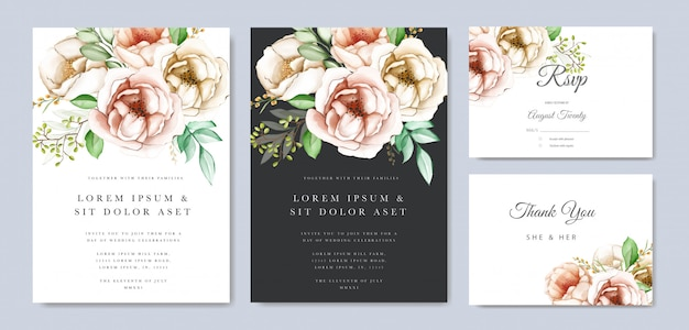 Blumenhochzeits-einladungskarte des bunten aquarells