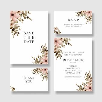 Blumenhochzeits-einladungskarte, speichern die datumskarte