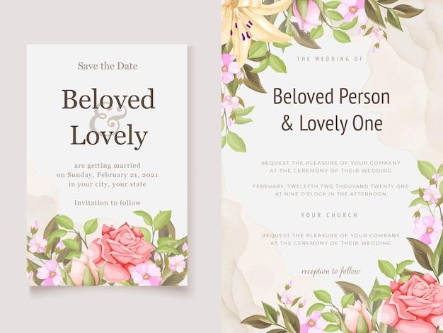 Blumenhochzeits-einladungsschablone