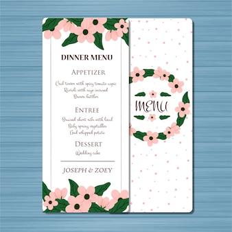Blumenhochzeits-menü-karte mit schönen blumen