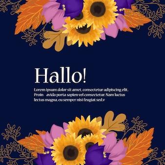 Blumenhochzeits-rahmen mit herbst-blumen und blättern
