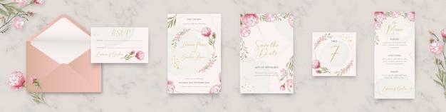 Blumenhochzeitsbriefpapiersammlung