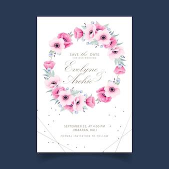 Blumenhochzeitseinladung mit anemonen- und mohnblumenblumen