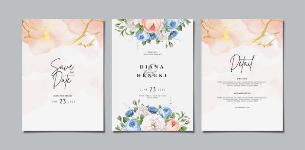 Blumenhochzeitseinladung mit aquarell