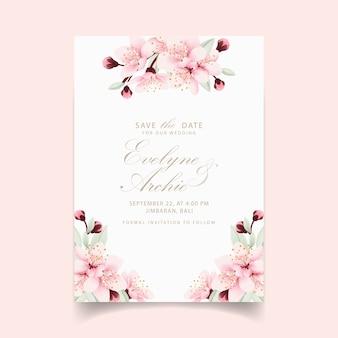 Blumenhochzeitseinladung mit kirschblüten