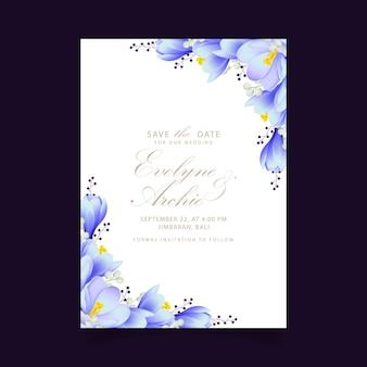 Blumenhochzeitseinladung mit krokusblumen
