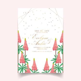 Blumenhochzeitseinladung mit lupineblume