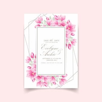Blumenhochzeitseinladung mit magnolienblumen