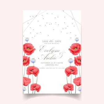 Blumenhochzeitseinladung mit mohnblume