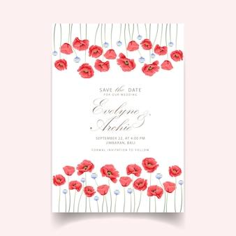 Blumenhochzeitseinladung mit mohnblumenblume