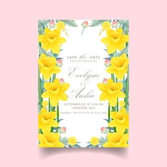 Blumenhochzeitseinladung mit narzissenblume