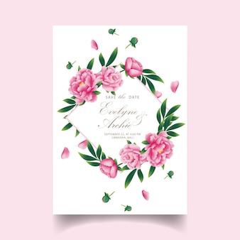 Blumenhochzeitseinladung mit pfingstrosenblume