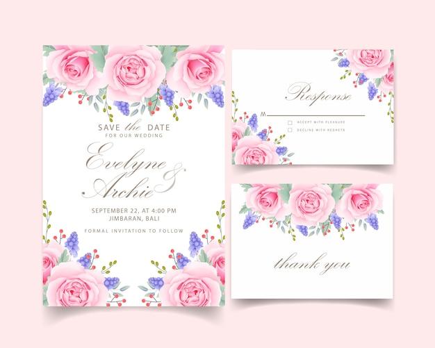 Blumenhochzeitseinladung mit rosa rose und muscari-blume