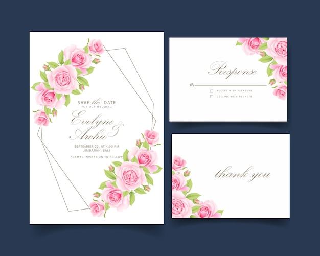 Blumenhochzeitseinladung mit rosa rose