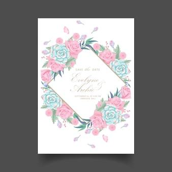 Blumenhochzeitseinladung mit Rosenblume und -saftigem