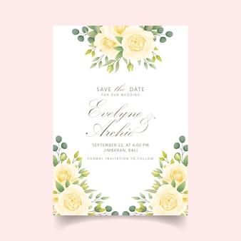 Blumenhochzeitseinladung mit weißer rose