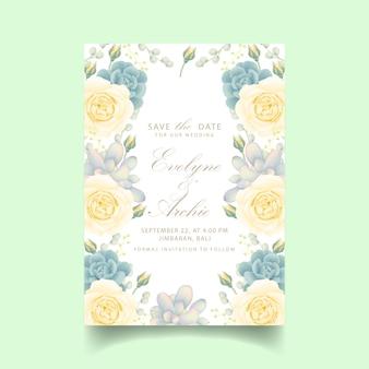 Blumenhochzeitseinladung mit weißrose und -saftigem