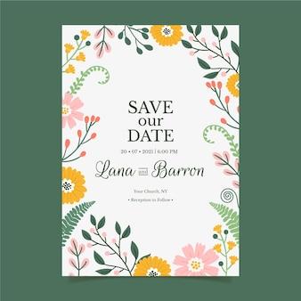Blumenhochzeitseinladung