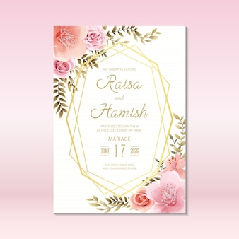 Blumenhochzeitseinladungs-kartenschablone mit aquarellart