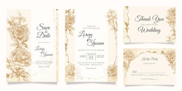 Blumenhochzeitseinladungs-kartenschablone mit aquarellgoldfolie