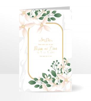 Blumenhochzeitseinladungs-kartenschablone mit schöner blumenart.