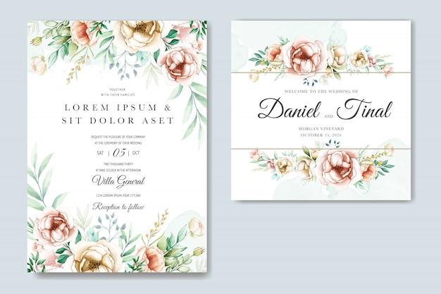 Blumenhochzeitseinladungs-kartenschablone stellte mit aquarellblumen ein