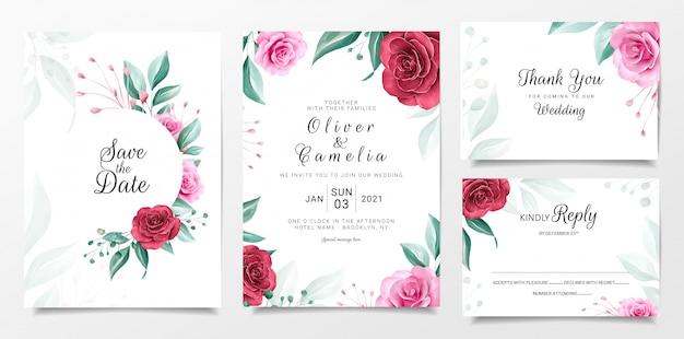 Blumenhochzeitseinladungs-kartenschablone stellte mit aquarellblumendekoration ein