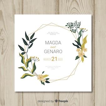 Blumenhochzeitseinladungs-kartenschablone