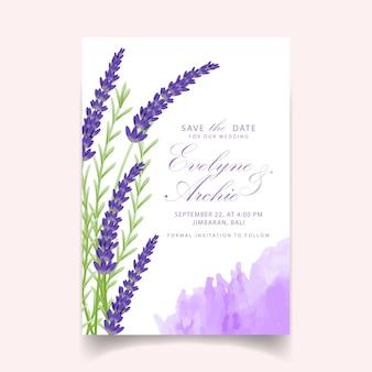 Blumenhochzeitseinladungs-kartenschablonendesign mit lavendel blüht.