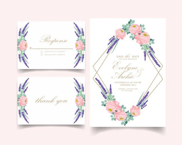Blumenhochzeitseinladungs-kartenschablonendesign mit ranunculus rosafarben und lavendel blüht.